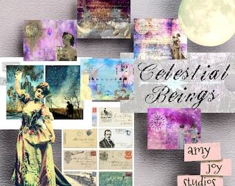Celestial Beings  Digital Junk Journal Kit  Mini Album  Vintage Moon Journal  Stars Galaxy Art  Collage Art  Printable Journal Paper