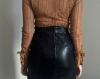 80s High Waisted Black Leather Pencil Skirt w/ Back Slit