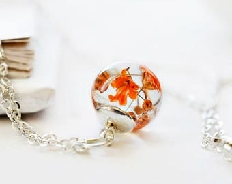 Real flower necklace Botanical necklace Small Orange flower jewelry Nature necklace Dried flower Real plant necklace Holiday gift or her
