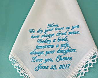 Personalized wedding gift for mother of the bride gift for mom Handkerchief for Mother from the Bride wedding Hanky Custom Hankie for mom