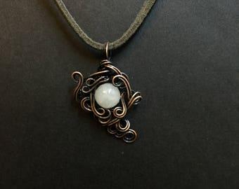 Quartz Copper Wrapped Pendant Necklace
