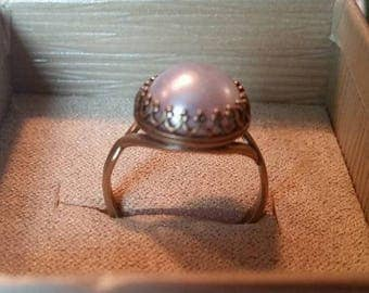 Antique brass plated ring with pearl whit bead