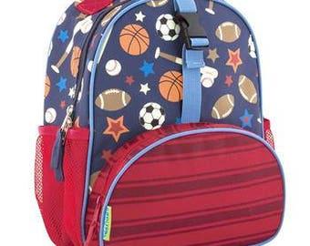 Stephen Joseph Mini Backpack for Younger Kids Sports Theme Free Monogramming