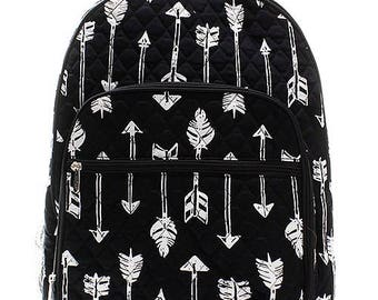 Arrow Print Large Quilted Backpack Great for Back to School or Diaper Bag Black/White