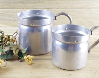 Two Aluminum Milk Pots, Swiss, Kitchen Utensil Storage, Milk Pitcher, Kitchen, Metal Pitchers, Flower Vase, Metal Vase, Farmhouse Decor 17-3