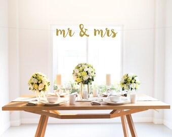 MR & MRS banner, gold, wedding, engagment, party decor, sign, photo backdrop, custom glitter banner