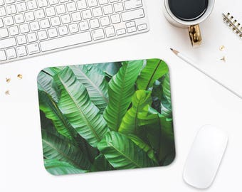Leaf Photo Mousepad, Green Leaves Art, Plants Mouse Mat, Desk Decor, Office Mouse Pad, Printed Mouse Pad, Mousepad