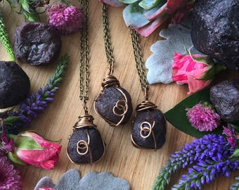 Raw garnet necklace, January  birthstone necklace, birthstone necklace, garnet stone, wire wrapped, crystal