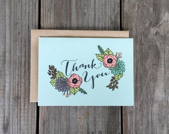 Thank You Card Floral Thank You Card Single Thank You Card
