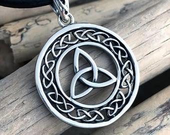Sterling Silver Celtic Triquetra Pendant Necklace, Celtic Triangle Pendant Necklace, Celtic Trinity CLT040