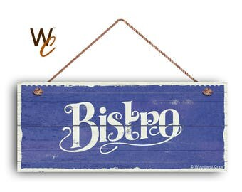 """ON SALE Bistro Sign, French Cafe 6""""x14"""" Sign, Blue Rustic Style Kitchen Sign, Housewarming Gift, Dining Sign, Made To Order"""