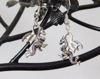 Silver 3d Dragon Earrings
