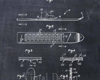 Snowboard Patent Print, Snowboard Patent Art Print, Snowboard Gift