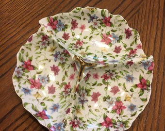 Elegant Dogwood/Rose of Sharon Floral Candy Dish