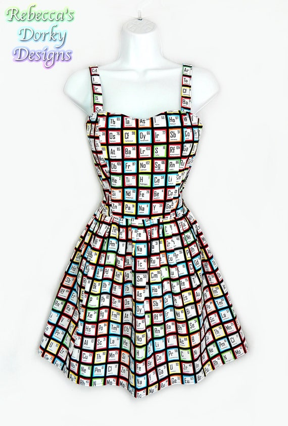 The periodic table of the elements black and white dresses