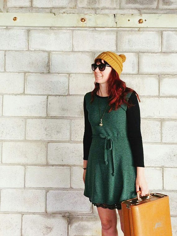 The Clementine wool and merino knit stretch dress in forest green.