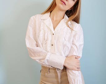 Vintage Ivory White Crinkle Blouse with Ruffles!