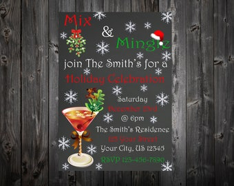 Mix & Mingle Holiday Celebration Party Invitation