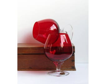 Stunning pair of Bohemia glass goblets or brandy balloons in ruby red with clear twisted stem hand blown Czech glass ware cranberry glass