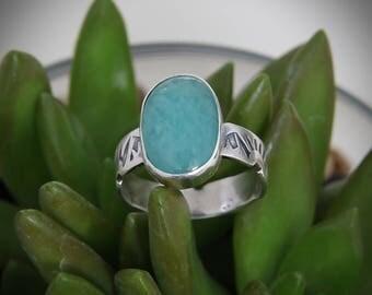 Amazonite Ring, Natural Amazonite, Silver Ring, Amazonite Jewelry, Handmade ring, Aqua stone, Blue Gemstone Ring, Sterling Silver Ring