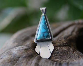 Turquoise Necklace, Sterling Silver, Natural Turquoise, Blue Turquoise, Large pendant, Triangle Turquoise, Statement necklace, Handmade Gift