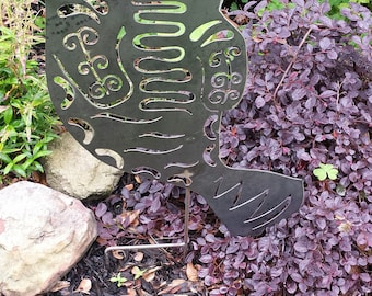 Whimsical Garden Art   Natural Steel   Garden Art   Manatee Garden Stake