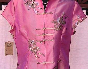 Pink Oriental Short Sleeve Blouse