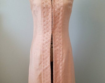 1960's Alfred Werber Peach Raw Silk Sleeveless Jacket With Floral Embroidery / Size: XS