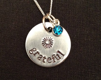 Grateful: small hand stamped aluminum pendant/charm/necklace