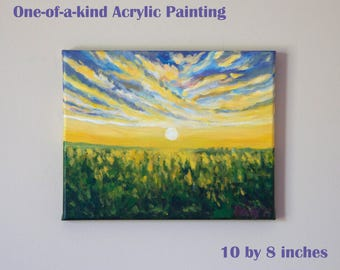 Yellow Green Sunshine Forest Painting-acrylics on canvas-small wall art-morning clouds trees-original painting