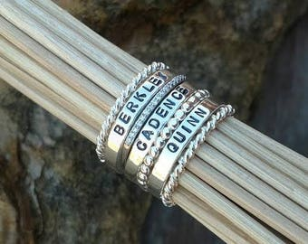 Sterling Silver Stacking Name Ring, Build your own Set, Personalized stackable rings, Hand stamped Mothers ring CZ Diamond Ring Beaded Rope