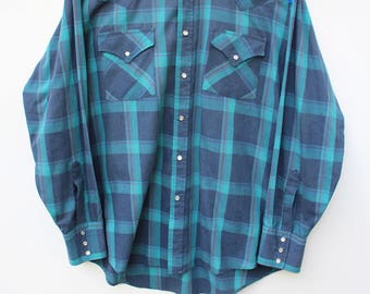 Men's LARGE L  Western Snap Shirt / Vintage Faded Drab Plaid / Cowboy Rodeo Shirts / Button Up Down