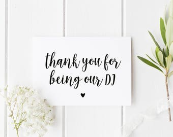 Thank You DJ Wedding Card, Thank You For Being Our DJ, Thank You Music Wedding Card, Card For Wedding DJ, Wedding Music Thank You Card