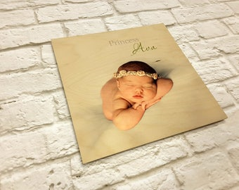 Photo on wood. Picture on Wood.  Wood wall art. Custom photo's on wood. Picture on wood. Baby Photo. Nursery Room Photo