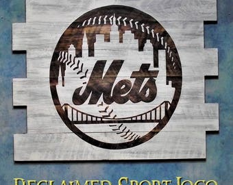 New York Mets ~ WhiteWash, Burnt wall hanging, 30X23, Shou Sugi Ban, Sports sign, Man cave, Rustic, Pallets, Wood Sports sign