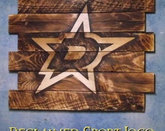Dallas Stars Hockey, FREE UV protector, 30X23, Burnt wall hanging, Shou Sugi Ban, Charred wood, Sports sign, Wood Sports sign, Rustic