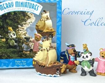 1997 Hallmark Peter Pan Merry Miniatures Set of 5 Figures Teddy Bear Pirate Ship Figurines Peter Panda Bear Vintage CUTE