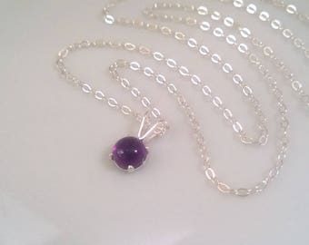 Amethyst necklace sterling silver; small amethyst necklace; silver amethyst necklace; small round amethyst pendant; sterling silver amethyst