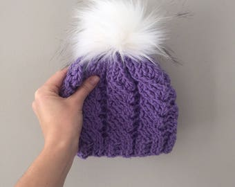 Toddler Crochet Hat With Pom Pom Purple Hat for Girls Child Beanie
