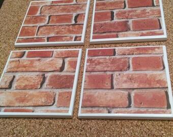 Drink Coasters - Tile Coasters - Ceramic Coasters - Ceramic Tile Coasters - Coaster Set - Table Coasters - brick Coasters - Coaster