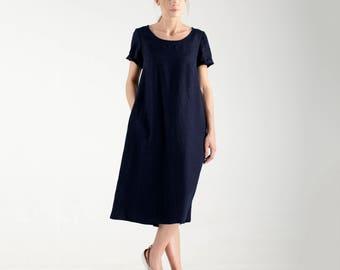 Custom Linen Dress / Loose Fit Dress / Loose Maxi Dress / Long Linen Dress  / Oversized Dress / Dark Blue Dress  / Linen Clothing for Women
