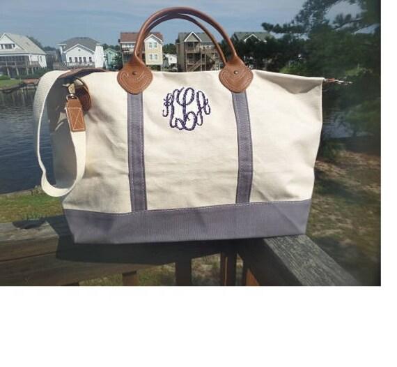 Monogrammed Canvas Weekender Bag Grey Weekender Bag Personalized Gray Overnight Bag Weddings Monogrammed Gifts Bridesmaids Highway12Designs