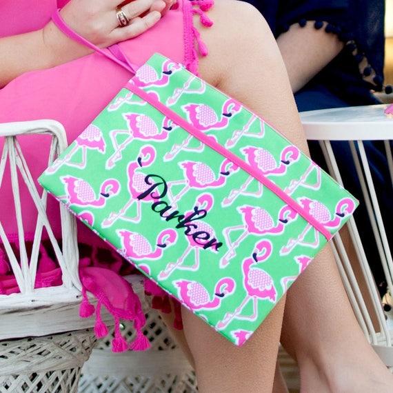 Monogrammed Makeup Bag Bikini Bag Waterproof Zip Pouch Flamingo Monogrammed Bag Cosmetic Pouch Bridesmaids Gifts Weddings Highway12Designs