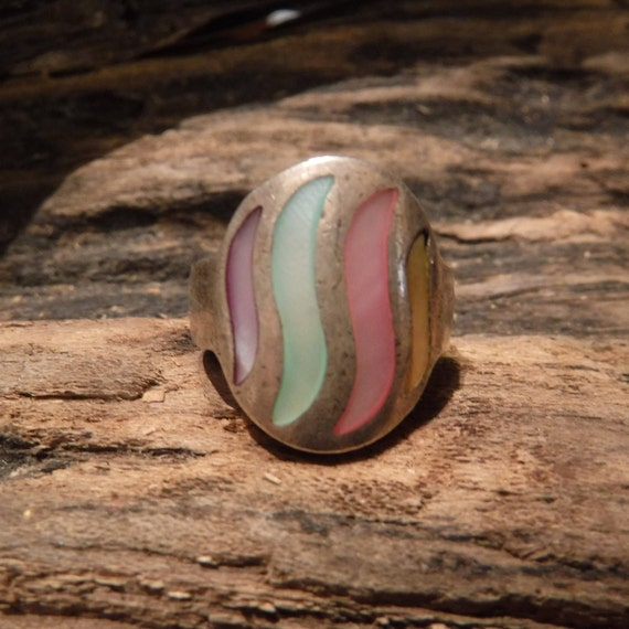 Vintage Mother of Pearl Ring Sterling Silver Size 5 weight 6.4 Grams MOP Spinney Vintage Rings  Mens Rings Sterling Silver  Stamped 925