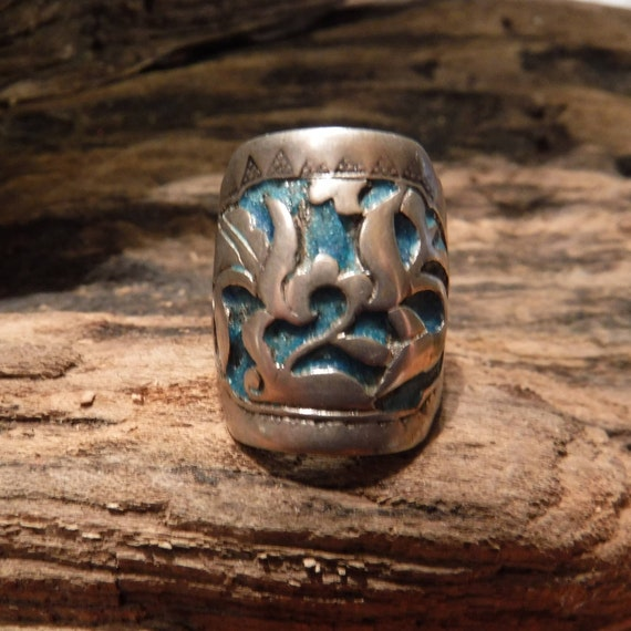 Vintage Turquoise Ring Sterling Silver Size 7 Adjustable 6.5 Grams Vintage Rings  Mens Rings Sterling Silver Mens Silver Ring Vintage ring