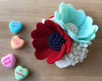 Aqua and Red Petite Cluster   Felt Flower Headband