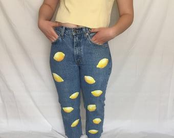 Hand Painted Lemon Print Vintage Levi Jeans size 28''/M