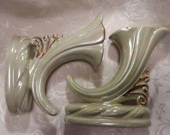 Pale Green Lusterware Cornucopia Vases   Set of 2