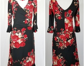 Black dress with red and white floral bouquet pattern - Medium