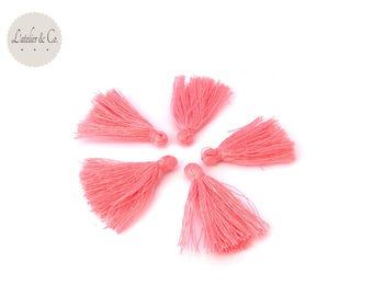 4 tassels in cotton yarn ROSE 25x5mm couture jewelry [22]